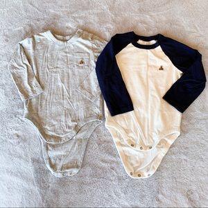 GAP Baby Boy Long Sleeve Bodysuits Set of 2 18-24M